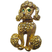 Adorable Vintage Rhinestone Poodle Pin 1950's
