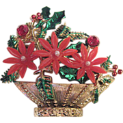 Huge Vintage Poinsetta Christmas Pin Hong Kong