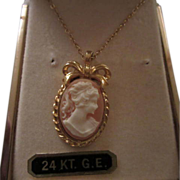 Vintage Sweet Cameo Pendant Necklace Original Box