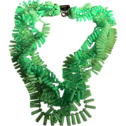 "Funky Five Strand ""Shimmy"" Green Necklace with Original Tag"