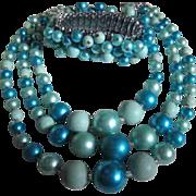 Fabulous Cha Cha Bracelet & 3 Strand Electric Blue Necklace Set
