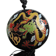 Gorgeous Chinese  Dragon Cloisonne Pendant on Silk Cord