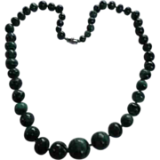 Malachite Necklace Hand Cut Beads