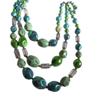 Fab 3 strand Molded Beads in Aqua colors 1950's