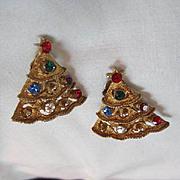 Vintage Jeweled Christmas Tree Earrings