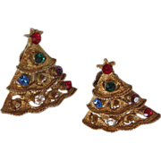 Vintage Jeweled Christmas Tree Earrings