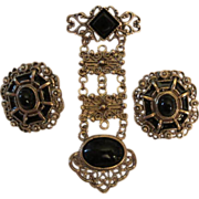 Fab Victorian Revival 1928 Unique Dangle Pin and Earrings Set