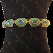Vintage Enamel Geometric Bangle Bracelet