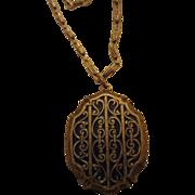 Victorian Revival Blue/Gold Enamel Pendant Paper Clip Chain