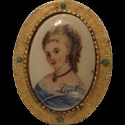 Hattie Carnegie Classic Vintage Limoges Profile Portrait Pin France