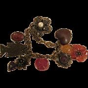 Antiqued Bronze Charm Bracelet 8 Charms