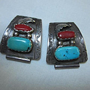 Native American Sterling Turquoise Coral Set Vintage Watch Tips B&N Naastacio signed