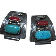 Native American Sterling Turquoise Coral Set Watch Tips B&N Naastacio signed