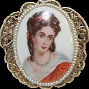 Limoges Portrait Victorian Revival Pin/Pendant