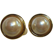 Vintage Anne Klein Classic Mobe Pearl Clip Earrings