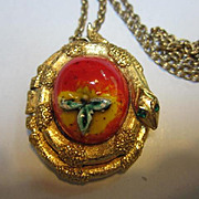 Fabulous Forbidden Fruit Enamel Snake Perfume Locket