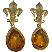 Maxine Denker Statement Citrine Teardrop Vintage Earrings on Fleur de Lis Clips