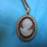 Unique Vintage Double sided Cameo Pendant on Chain