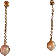 14K  Dangling Large 10mm Cultured Pearls Pierced Earrings