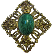 Gorgeous Victorian Revival Greenish Blue Glass Stone with Seed Pearls (faux) Brooch/Pin or Pendant