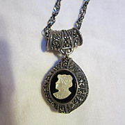 Fabulous & Unique Double sided Sterling Silver Marcasite Pendant and Mother of Pearl Cameo Italy