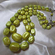 Gorgeous Chartreuse Double Strand Mad Men Necklace Perfect Condition