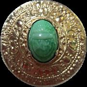 Peking Glass Scarab Egyptian Revival  Pin / Brooch