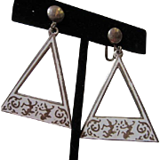 Unusual Siam Sterling Nielloware White Enamel Hanging Earrings