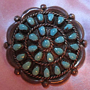 Signed Native American Sterling Silver Turquoise Needlepoint Vintage Pin  Pendant HV Homer Vance