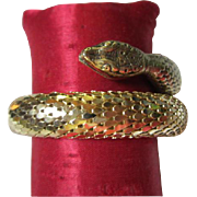Whiting & Davis Vintage Gold tone Scaled Wrap Bracelet