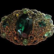 Ornate Czechoslovakia signed Emerald Green Austrian Crystal 1930's Pin