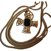 "Vintage Carolee signed Black Glass Maltese Cross on Substantial 20"" chain made for Nordstrom's"