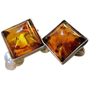 Classic Genuine Baltic Amber Sterling Silver Clip Earrings Maker's 925