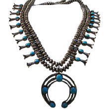 Fabulous Signed Reversible Turquoise & Coral Unique Native American Sterling Silver Squash Blossom Vintage Necklace LFK