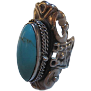 Fabulous Turquoise Secret Compartment Poison Handmade Sterling Silver Statement Ring