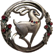 Vintage Beatrix Reindeer Brooch Christmas Jewelry Marked and Signed