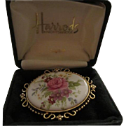 Harrods C.R. Hettel signed Beautiful Flower Porcelain China Brooch Pin in Original Box England