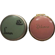 Two Art Deco Rouge Pots Luxor & Belcano Green & Pink Vanity Adornments
