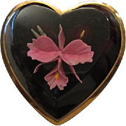 Orchid Flower Beveled Lucite Heart Compact Original Powder Puff Mirror Art Deco Vanity ~ Simply Devine!