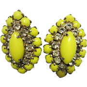 Weiss signed Yellow Rhinestone Clip Earrings