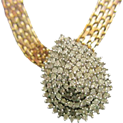 Gorgeous Genuine Diamond Teardrop Vermeil Necklace