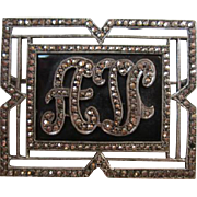 Art Deco Marcasite Sterling Silver Framed Initial Pin A V
