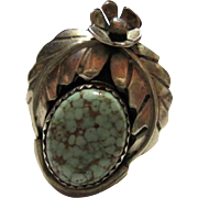 Native American Matrix Turquoise Sterling Silver Hand made Ring