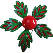 Fabulous Red & Green Flower Power Pin 1960's Christmas Colors