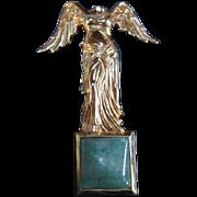 Nike Greek Goddess of Victory Masterpiece Museum Genuine Aventurine Stone Pin
