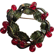 Gorgeous Vintage Green Enamel Wreath with Ruby Red Glass Dangles  Brooch/Pin