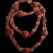 Rare & Gorgeous  Venetian Millefiori Vintage Orange Hand Blown Glass Beaded Necklace