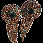Gorgeous Jeweled Toned Prong Set Emerald Glass Center Statement Earrings  ~ Razzle Dazzle Them!