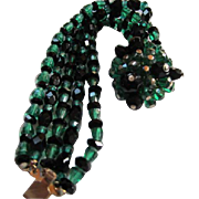 Gorgeous 5 Strand Faceted Glass Emerald Green & Black with Fabulous Wired Matching Clasp Bracelet