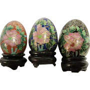 Set of 3 Chinese Cloisonne Enamel Decorative Eggs on Wooden Stands